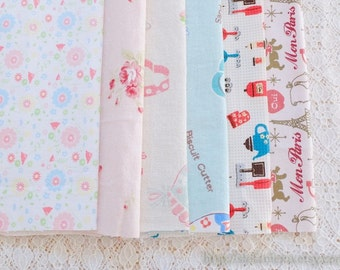 S079 Fabric Scraps Bundle Set - Shabby Chic French Style Paris Girl Cat Pink Blue Daisy Rose Floral Afternoon Tea (6PCS, 9x9 Inches)