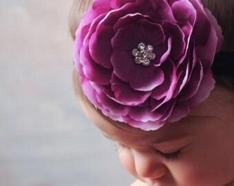 Baby Headband - Infant Headband - Newborn Headband - Toddler Headband - Purple/Volet Flower on Black Stretch Headband - Photography Prop