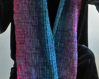 Scarf.  Handwoven  in Jewel Colors-Ruby, Amethyst, Sapphire and Emerald.   Long, Soft and Glamorous. Chenille and Boucle