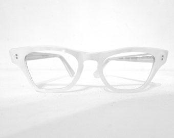 Vintage 60s Pearl White French Cat Eye Frames, NOS Vintage 50s 60s Eyewear, Eyeglasses/Sunglasses sale Slightly Larger Size