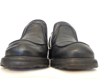 "FLuevog F Soles Bump TOe Square Toe Platform Punk Gothic Loafer Black Leather Ska Brogues Insole Length is 9 3/8ths"" or ABout a US W Sz 7.5"