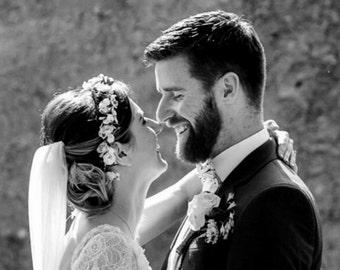 Champagne Blush Flower crown gold Bridal hair wreath garland halo blush peach pink veil accessories Woodland pip berry destination Wedding