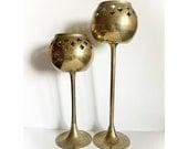 ON SALE Vintage Brass Candlestick Candle Votive Holders Set of 2