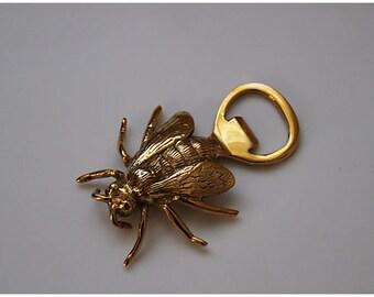 Vintage Solid Brass Royal Bee Bottle Opener / Barware / Hostess Gift
