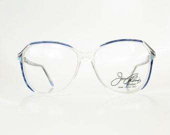 Vintage Blue Oversized Womens Glasses 1980s Eyeglasses Pearl Sapphire Geek Chic Nerdy 80s Eigthties Glam Rocker NOS New Old Stock Deadstock