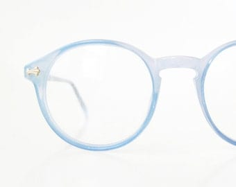 Vintage Blue Round Eyeglasses 1960s P3 Womens Glasses Frames Deadstock Optical NOS New Old Stock Pastel Robins Egg Light Sunnies
