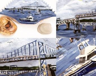 Hand Painted Chesapeake Bay Annapolis Maryland Crab Shell Chesapeake Bay Bridge Fishing Boats Personalized Keepsake Gift
