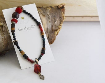 Bracelet rouge bois naturel zen