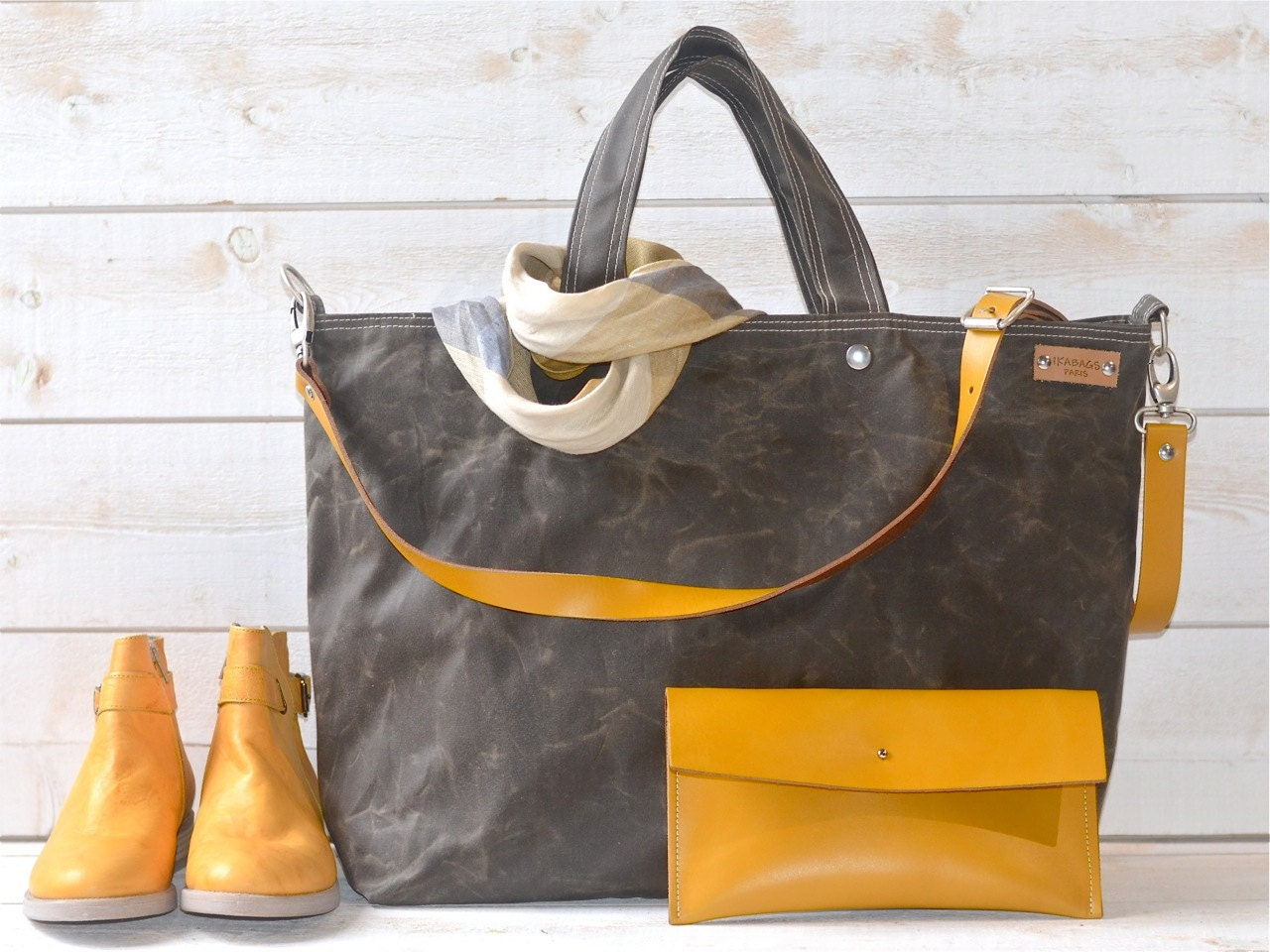 Waxed canvas tote Carry all Leather bag Diaper bag