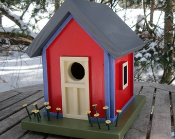 Birdhouse, Donette's Cottage, Red with Blue Trim, Yellow Flowers