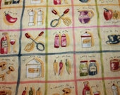"Fun Kitchen fabric ""What's Cookin"" by Cheri L. Strole Licensed to SSI Kitchen Retired HTF"