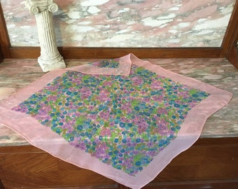 Fun Sheer Scarf 1960s Pink Floral