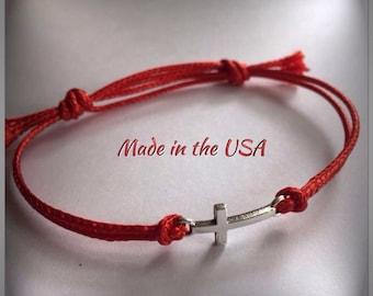 Dainty sideways cross bracelet ,  slide bracelet, cross bracelet, charm bracelet, Christian bracelet, Christian jewelry, silver cross charm