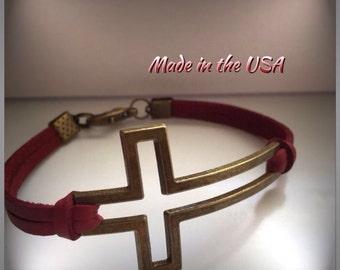 Open sideways cross bracelet