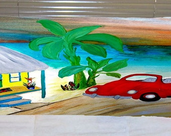 Red vw convertible body pillow case from my art