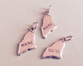 Maine State Charm Pendant with Loop, Antique Silver, Great for Charm Bracelets, Necklaces, Earrings