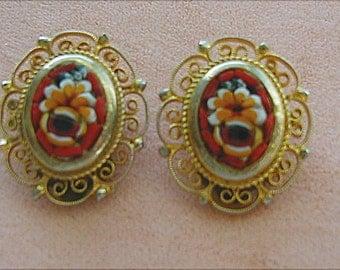 Vintage Micro Mosiac Clip Earrings Red
