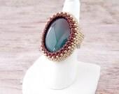Huge Gemstone Ring - Boho Gemstone Ring - Copper Gemstone Ring - Gemstone Ring, Gemstone Cocktail Ring - Large Gemstone Ring - Beaded Ring