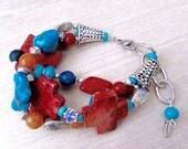 Chunky Gemstone Bracelet, Chunky Beaded Bracelet, Gemstone Bracelet, Cross Bracelet, Boho Jewelry, Turquoise Bracelet, Southwestern Bracelet