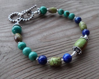 Genuine Smooth Turquoise, Lapis, and GENUINE Gaspeite and Sterling Silver Bracelet