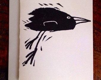 Black Bird Block Print Card