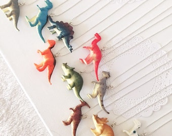 Set of FIVE, Dinosaur, dino inspired, ball chain necklace, children, child, birthday party favor.