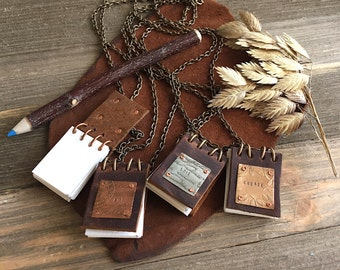 Little Leather Notebook Necklace