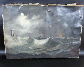 Vintage Nautical, Lighthouse and Ships Oil Painting. Signed and Dated 1905.