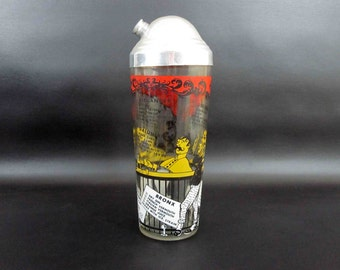 Vintage Glass Cocktail Shaker with Seven Drink Recipes in Turn of the Century Motif. Circa 1960's.
