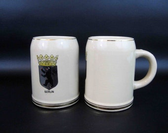 Vintage Set of 2 Berlin Souvenir Beer Mugs with Berlin Crest and Gold Rims and Handle. Circa 1960's.