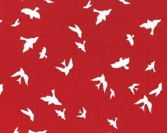 Brambleberry Ridge Flight Birds Red Michael Miller Fabric, Choose your cut