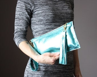 Metallic MINT leather clutch, zipper wristlet , leather purse, zipper pouch, Iphone6 case, wallet , coin purse , leather tassel