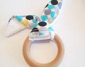 Natural Bunny Teething Ring | Teether | Bunny Ears | Teething Ring | Multicoloured Dots