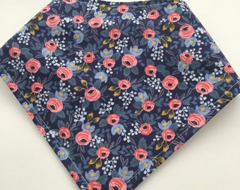 Baby Toddler Drool Bib Bandana Bibdana Waterproof Baby Gift - Trendy Navy Blue Floral Flowers Rifle Paper Co