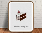 Cool Posters, Funny Gift for Her, Funny Decor, Food Print, Food Art, Food Gifts, Cake Print, Baking Gifts, Dessert, Black Forest Cake