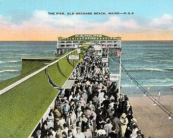 Vintage Maine Postcard - The Pier at Old Orchard Beach (Unused)
