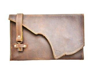 Rustic Leather Clutch with Skeleton Key Clasp - Distressed Leather Purse - Raw Edge OOAK Oversized Wallet