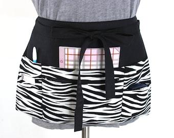 vendor apron - waitress apron - teacher apron - money apron - half apron - utility apron - zipper pocket zebra black and white MADE to ORDER