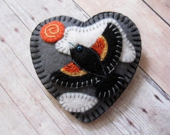 Red Wing Blackbird Brooch - Ready to Ship Embroidered Jewelry