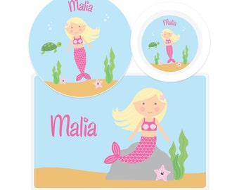 Mermaid Plate-Mermaid Bowl-Mermaid Placemat-Personalized Mermaid Dinnerware Set-Custom Kids Dishes-Personalized Mealtime Set