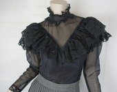 80s Witch Blouse with Ruffles- 1980s Sheer- Victorian / Edwardian- High Neck + Puffy Sheer Sleeves