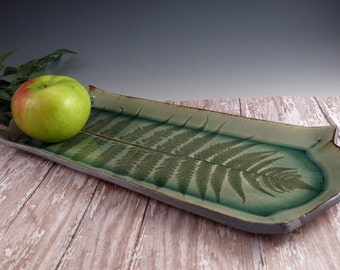 Pottery Tray - Ceramic Serving Dish - Fossil Fern - Bread - Sushi