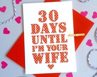 Days Until Wedding Countdown Card – Personalised Wife Wedding Card – Card for fiancé Husband – birthday card for fiancé – Christmas card