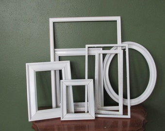Picture Frames Set of 7 Upcycled Vintage Various Size Open Frame