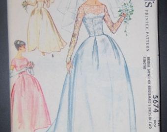 McCalls 5674 Vintage Sewing Pattern Wedding Dress