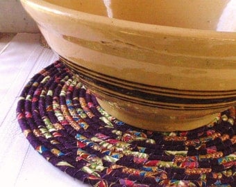Coiled Mat, Chair Pad, Hot Pad, Trivet - LARGE ROUND - Dark Plum, Gold Metallic, Handmade by Me