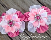 "Satin Flowers- Shades of Pink Ribbon Flowers- 2""- Headband Flowers- Diy Supplies- Fabric Flowers- Hair Accessories- Rhinestone Flowers"