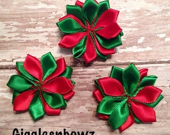 "Small Satin Pinwheel Christmas Flowers- You Choose Quantity- DIY Headband Supplies- Flower- Wholesale- 1.5"" Flowers- Headband Flower"