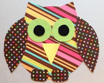 Fabric Iron On Applique Owl