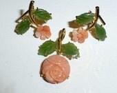 Vintage Carved Coral and Jade Earrings Pendant Rose Motif